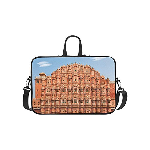 Facade of Hawa Mahal Palace in Jaipur Rajasthan Pattern Briefcase Laptop Bag Messenger Shoulder Work Bag Crossbody Handbag for Business Travelling
