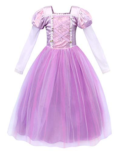 AmzBarley Rapunzel Dress for Girls Princess Long Hair Cosplay Costumes Fancy Party Dress up Kids Fairy Tales Halloween Holiday Role Play Outfits Size 6(5-6Years)]()