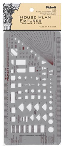 Pickett House Plan Fixtures Kitchen and Bath Template, 1/8 Inch Scale (1152I) by Pickett