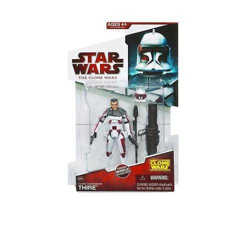 (Star Wars The Clone Wars Animated Series 4 Inch Tall Action Figure - CW32 Clone Commander THIRE with 2 Blaster Pistol, Removable Helmet and Missile Launcher with 1 Missile)