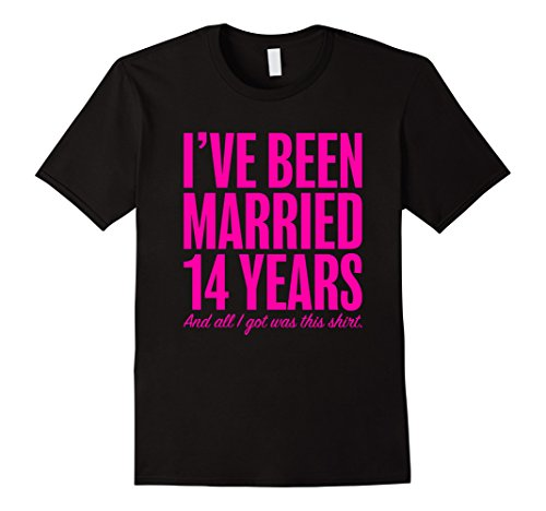 Mens 14 Years Married Anniversary 14th Year Wedding Gift T-Shirt 3XL Black