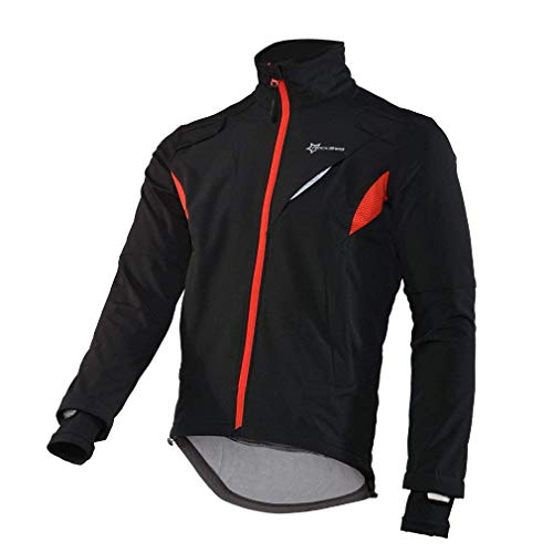 RockBros Winter Cycling Fleece Thermal Windproof Jacket Outdoor Sport Coat Casual Riding Long Sleeve Jersey for Men Black (2X-Large) ()