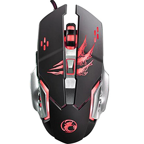 3200 DPI Gaming Mouse, MUTOUREN Optical USB Wired Gaming Mouse PC Mouse Computer Mouse with 6 Programable Buttons 4 Color Cycle Breathing Metal Base High Precision for Pro Gamer/PC /Laptop /Desktop