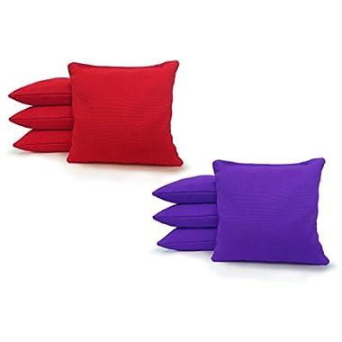 8 Standard Corn Filled Regulation Duck Cloth Cornhole Bags! 17 COLORS (YOU PICK)!! (Red/Purple)