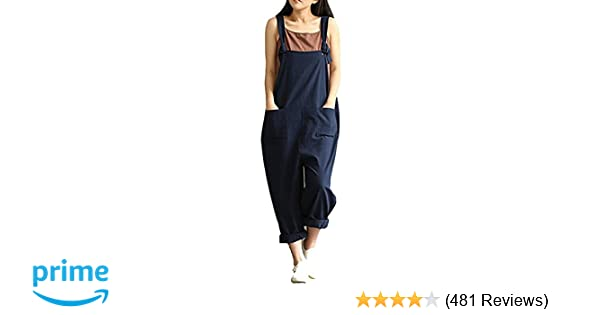 2a07d1e46c Women's Casual Jumpsuits Overalls Baggy Bib Pants Plus Size Wide Leg Rompers