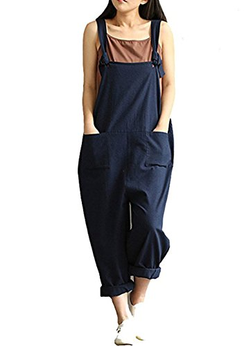 Aedvoouer Women Cotton Linen Overalls Adjustable Strap Pattern Sleeveless Jumpsuit With Pockets (XL), A-blue