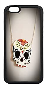 iPhone 6 Case, Sugar Skull Necklace Day Of The Dead TPU Rubber Bumper Polycarbonate Hybrid Case Full Protection Case for iPhone 6 4.7 Black