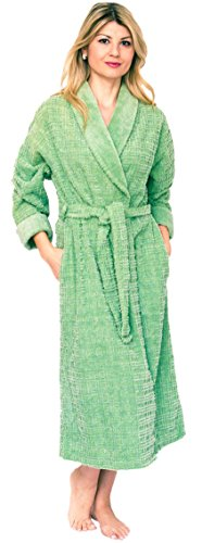 Bath & Robes Women's Long Chenille Robe with Shawl Small Olive Green