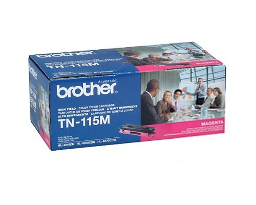 Brother TN115M High-Yield Toner Cartridge, Magenta - in Retail Packaging ()