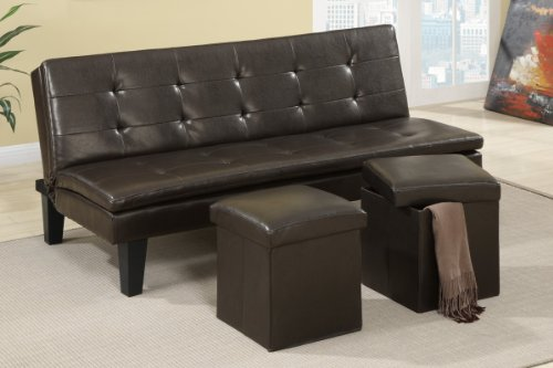 Poundex F7199 Brown Leatherette Adjustable Sofa With Ottomans