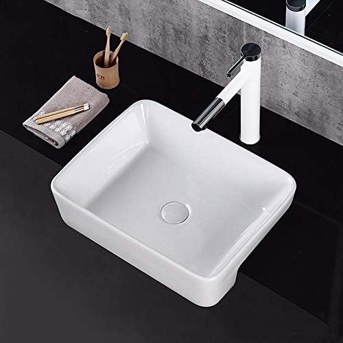 洗面ボウル ホームのための広場セラミック流域浴室自立洗面台セラミック洗面台 インストールが簡単 (色 : White, Size : 48x37x13cm)