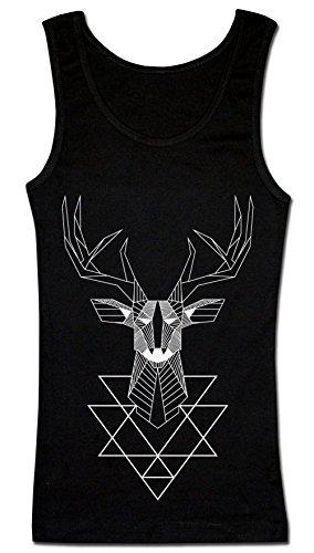 Geometrical Polygonal Deer T-shirt senza maniche da donna