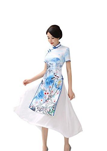 Qipao Femme Acvip En Bleu Longue Cheongsam Satin Robe Soirée Asiatique Doublure Party wtUxaqTU