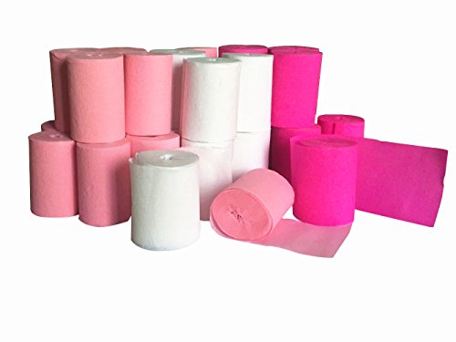 - Fonder Mols 30 Rolls Crepe Paper Party Streamers Color White Pink Fuchsia, Each 1.8 Inch x 30 Feet