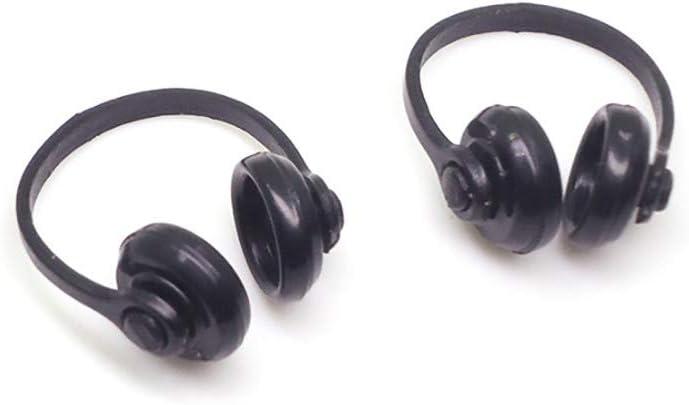 Onegirl Dollhouse Accessories and Furniture, 2PCS Miniature Headphones Mini House Decor for 1:12 Dollhouse DIY Accessories Bedroom Living Room Listening Music Decoration Crafts (Black)