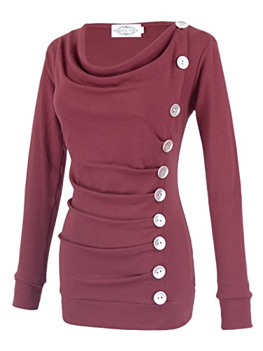 Maggie Tang Mama Long Sleeves Cowl Neck Buttons Maternity Tunic Top
