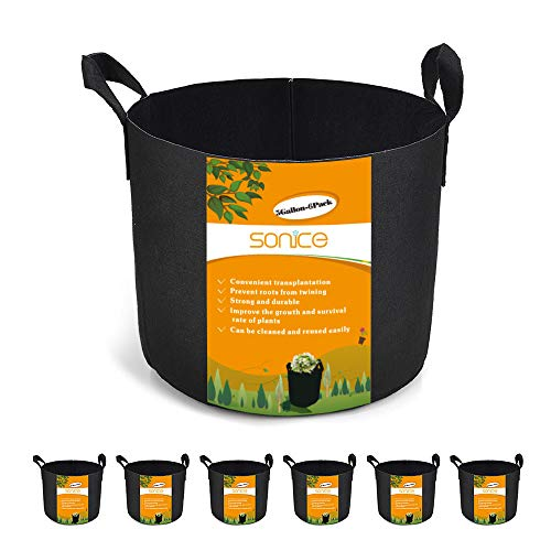 Sonice Set of 6 Pack 1 Gallons Grow Bags, Aeration Fabric Pots with Handles -