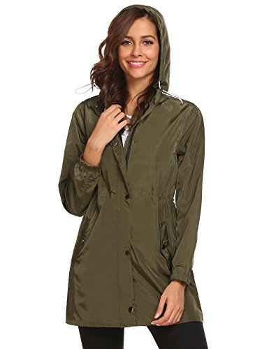 Dicesnow Women's Classic Look Raincoat Hooded Plaid Lined Waterproof Jacket (Raincoat Lined Plaid)
