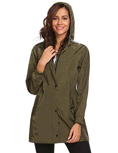Dicesnow Women's Classic Look Raincoat Hooded Plaid Lined Waterproof Jacket (Plaid Lined Raincoat)