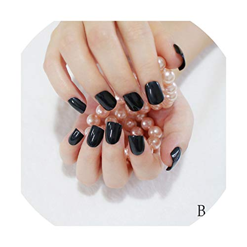 (Fake Nails Short Round Soft Pre-designed Nail Tips Concise Manicure)