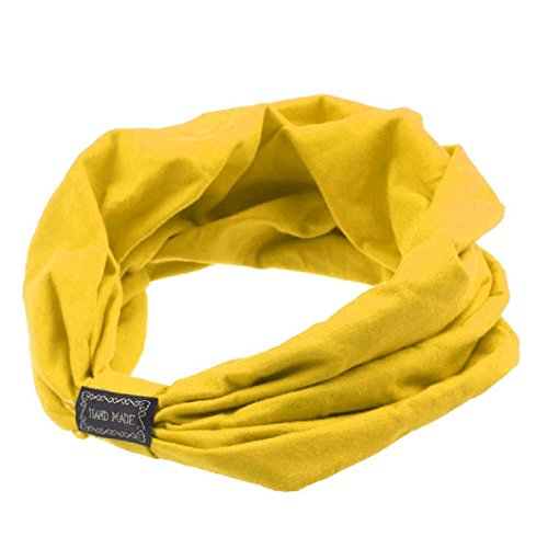 Do Cotton Wrap Headband (DZT1968(TM)Women Cotton Wide Knit Turban Knotted Headband Head Wrap Hair Band For Sports Bath Make Up (Yellow))