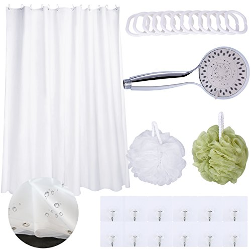 Shower Curtains Sets Waterproof Mildew Resistant Bath Curtain Anti-Bacterial Mat Hand Held Shower Heads with 5 Setting Function High Pressure Shower Sprayer Value Pack Home Bathing accessories