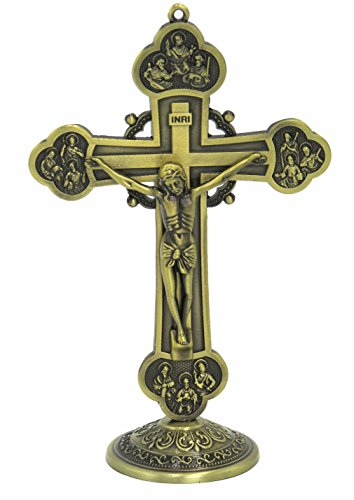 GGCI Crucifix Wall Cross Bronze Toned Metal Statue and Tabletop Jesus Christ Cross 6inch Height
