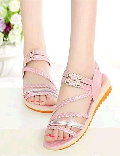 Sandaletten Sintética rosa De blanco Mujer Azul Plano Lässig Zapatos Sandalias Comodidad Tacón Shangyi Blanco Piel Para ROgnWdRq