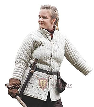 White Costumes Dress SCA The Medieval Shop Thick Padded Ladies Gambeson Coat Aketon Jacket Armor