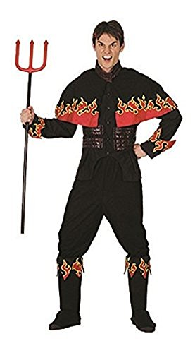 Adults Halloween Flaming Devil Adult Costume Oneszie (Onesize, Black) -