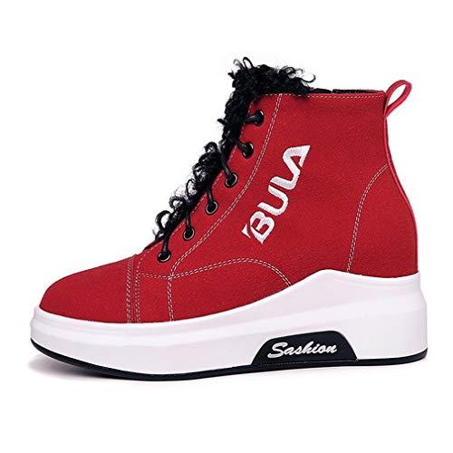 Aire Libre Rojo Al Aumento De Zapatillas Altas La Casuales Para Y Primavera Otoño Caminar Microfibra Zapatos Yan Moda Mujer TZw8xa8U