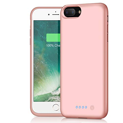 iPhone 8 Plus 7 Plus Battery Case, iPosible 8500mAh Rechargeable Battery Pack Charging Case for iPhone 7 Plus/8Plus (5.5 inch) Extended Battery Power Bank Portable Backup Cover Case-Rose Gold
