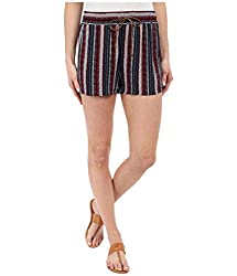 Splendid Women's Drawcord Short Stripe, Fiery Red/Navy, X-Small