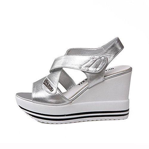 Womens Toe Leather Cow Open High loop and AmoonyFashion Solid Hook Silver Heels Sandals 18dxq5