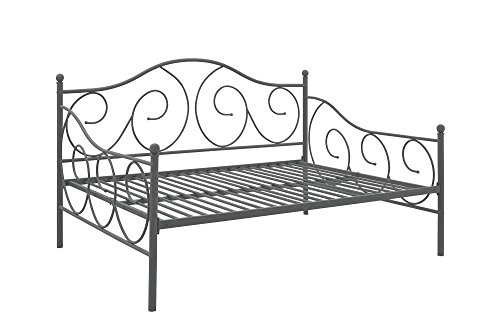 DHP Victoria Daybed Metal Frame, Multifunctional, Includes Metal Slats, Full Size, Pewter by DHP