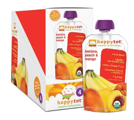 3 pack of Organic Superfoods Banana, Peach & Mango 4.22 oz. by Happy Tots