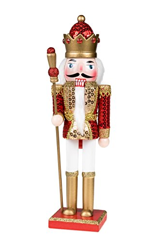 King Nutcracker | Traditional Christmas Decor | With King's Royal Scepter | Wearing Red and Gold Sequin Shirt | Perfect for Any Collection | Perfect for Shelves & Tables | 100% Wood | 12'' Tall by Clever Creations (Image #7)