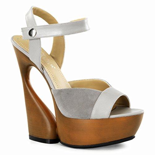 Pleaser Day & Night Women's 'Swan' Suede Peep-Toe Sculpted Wedge Heels Tan, Taupe 5