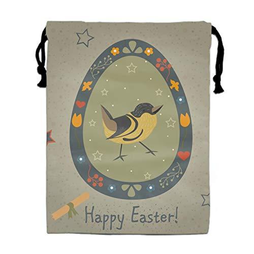 Festive Easter Egg Travel Drawstring Bag Shoe Laundry Underwear Makeup Storage Pouch 11.8 × -