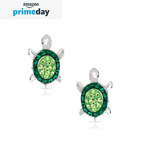 Green Crystal Baby Sea Turtle Earring Set, Never Rust 925 Sterling Silver, Natural & Hypoallergenic Studs For Women, Girls & Kids, with Free Breathtaking Gift Box for a Special Moment of Love