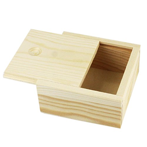 Ieasycan Botique Small Plain Wooden Storage Box Case for Jewellery Small Gadgets Gift Wood