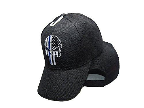 Two Pack (2) USA Police Law Enforcement Punisher Demon Skull Thin Blue Line Black 3D Hat Cap