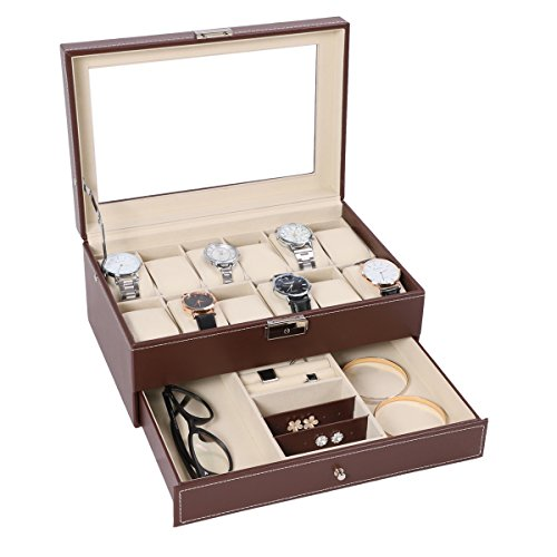 12 Watch Box Watch Display Organizer with PU Leather Jewelry Display Case with Key&Lock, Brown with Glass - Storage Sunglass Solution