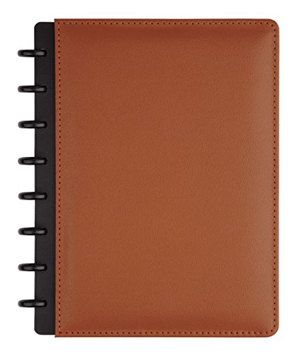 TUL Custom Note-Taking System Discbound Notebook, Junior Size, Leather Cover, Brown