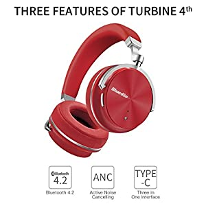Bluedio T4 (Turbine) Active Noise Cancelling Bluetooth Headphones with Mic Over-ear Swiveling Wired and Wireless headphones Headset for Cell Phone/TV/PC bass fashion (Red) from Bluedio