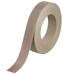 "Teflon T965223 PTFE Glass Cloth Backing Adhesive Tape, 18 yds Length x 1"" Width, 12 mil Thick, Brown"