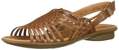 Leather Woven Sandals - Naturalizer Women's Whistle Fisherman Sandal Saddle TAN 8.5 N US