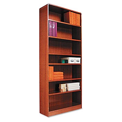 Alera BCR78436MO Radius Corner Wood Bookcase, Seven-Shelf, 35-5/8 x 11-3/4 x 84-Inch, Medium Oak