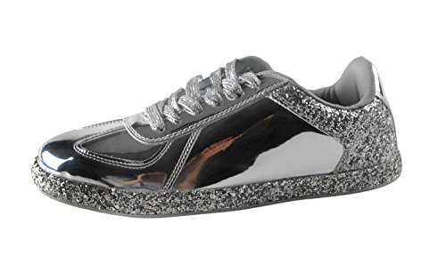 1017c888674e ROXY ROSE Womens Sneaker Flats Metallic Leather Glitter Fashion Sneakers  Shoes Lace Up - Buy Online in Oman.