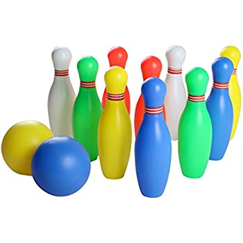 Yoptote Colorful Bowling Ball Toys Set with 10 Pins and 2 Bowling Balls Great Gift for Children 3 years old and up (12 PCS)